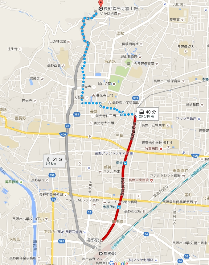 長野駅から善光寺・雲上殿へのアクセス・行き方「電車」